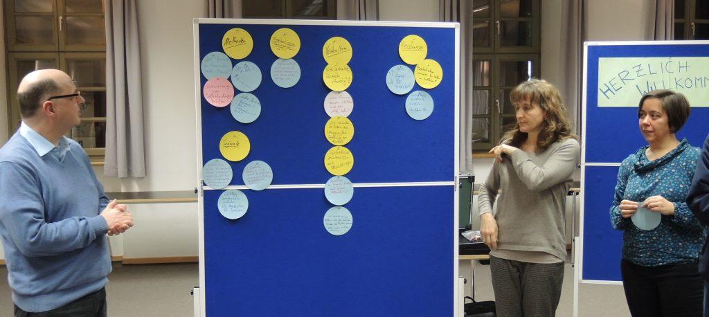 Die Themen des Trauma-Workshops stehen auf Zetteln, die an einer Pinnwand heften.